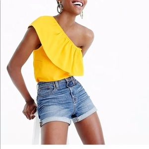 J Crew Yellow Lace One Shoulder Top